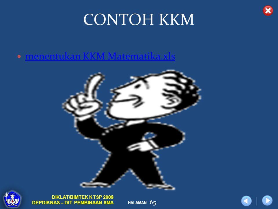 HALAMAN DIKLAT/BIMTEK KTSP 2009 DEPDIKNAS – DIT. PEMBINAAN SMA CONTOH KKM menentukan KKM Matematika.xls 65