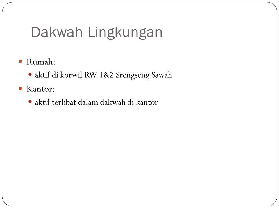 Dakwah Lingkungan Rumah: aktif di korwil RW 1&2 Srengseng Sawah Kantor: aktif terlibat dalam dakwah di kantor