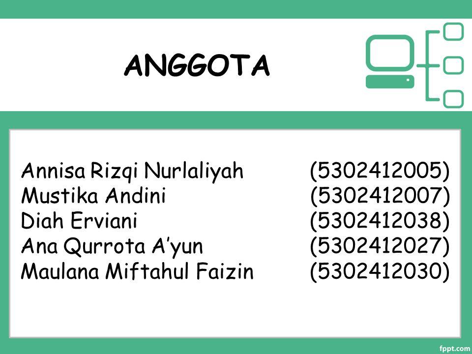 ANGGOTA Annisa Rizqi Nurlaliyah (5302412005) Mustika Andini (5302412007) Diah Erviani (5302412038) Ana Qurrota A'yun (5302412027) Maulana Miftahul Fai