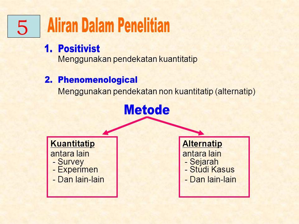 Menggunakan pendekatan kuantitatip Menggunakan pendekatan non kuantitatip (alternatip) Kuantitatip antara lain - Survey - Experimen - Dan lain-lain Al