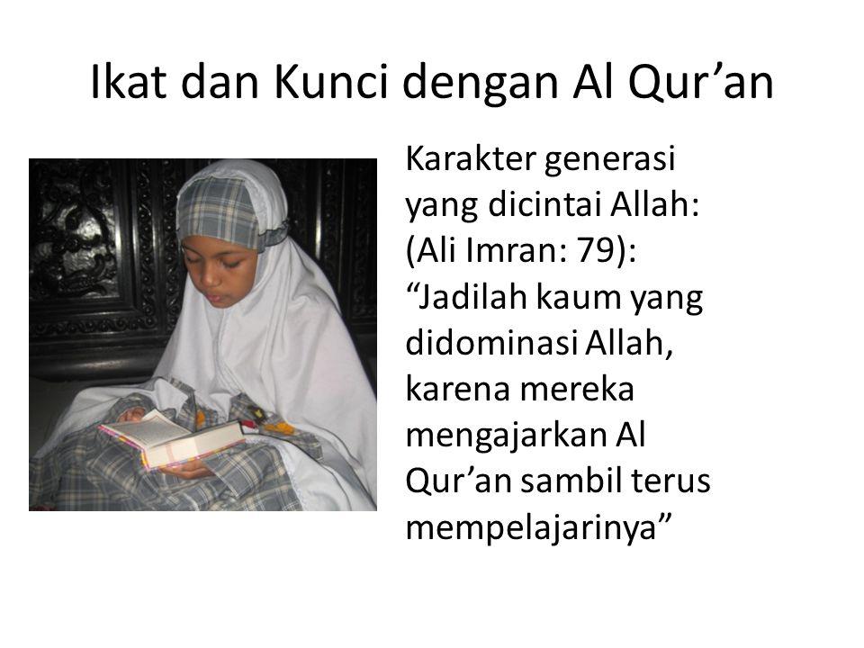 Ikat dan Kunci dengan Al Qur'an Karakter generasi yang dicintai Allah: (Ali Imran: 79): Jadilah kaum yang didominasi Allah, karena mereka mengajarkan Al Qur'an sambil terus mempelajarinya