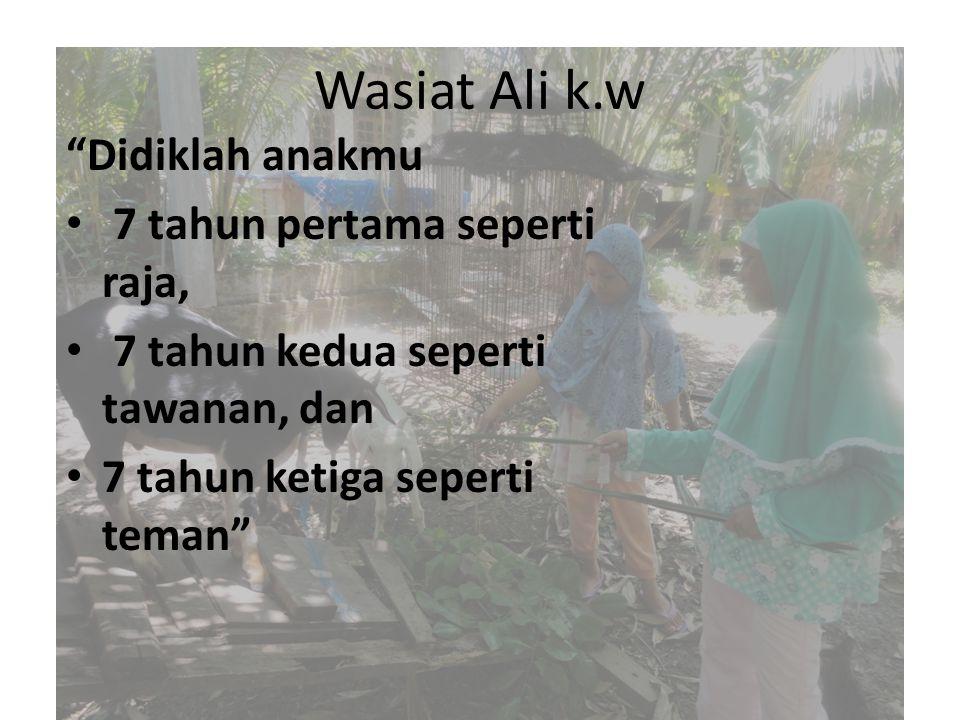 Wasiat Ali k.w Didiklah anakmu 7 tahun pertama seperti raja, 7 tahun kedua seperti tawanan, dan 7 tahun ketiga seperti teman