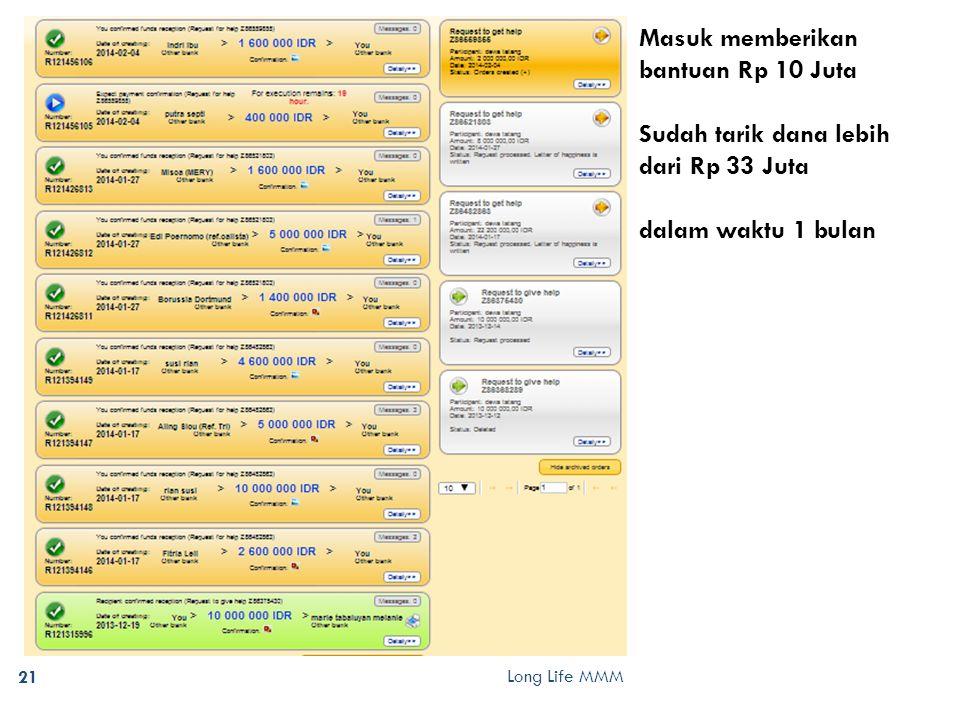 Long Life MMM 21 Masuk memberikan bantuan Rp 10 Juta Sudah tarik dana lebih dari Rp 33 Juta dalam waktu 1 bulan