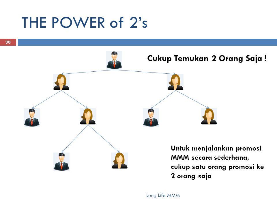 THE POWER of 2's Long Life MMM 30 Untuk menjalankan promosi MMM secara sederhana, cukup satu orang promosi ke 2 orang saja Cukup Temukan 2 Orang Saja