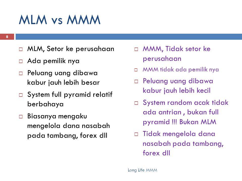 MLM vs MMM Long Life MMM 8  MLM, Setor ke perusahaan  Ada pemilik nya  Peluang uang dibawa kabur jauh lebih besar  System full pyramid relatif ber