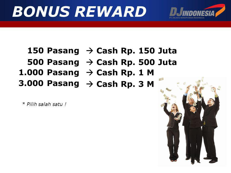 150 Pasang  Cash Rp.150 Juta 500 Pasang  Cash Rp.