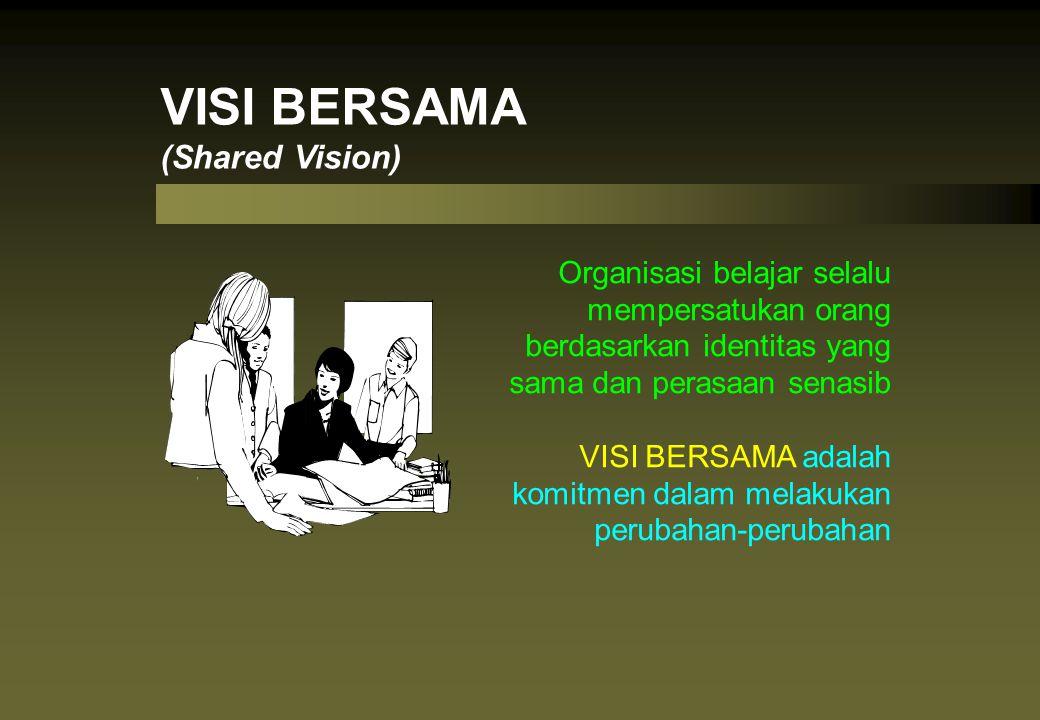Organisasi belajar selalu mempersatukan orang berdasarkan identitas yang sama dan perasaan senasib VISI BERSAMA adalah komitmen dalam melakukan peruba