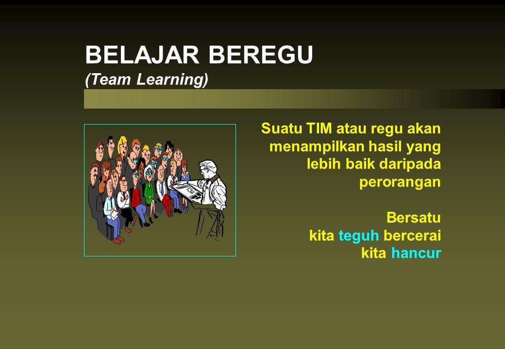 BELAJAR BEREGU (Team Learning) Suatu TIM atau regu akan menampilkan hasil yang lebih baik daripada perorangan Bersatu kita teguh bercerai kita hancur
