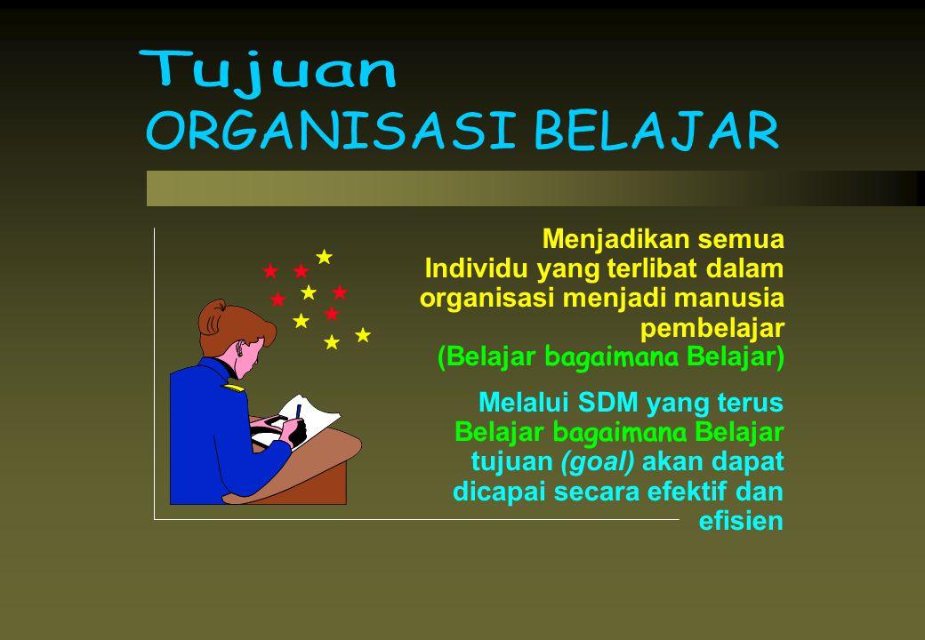 Menjadikan semua Individu yang terlibat dalam organisasi menjadi manusia pembelajar (Belajar bagaimana Belajar) Melalui SDM yang terus Belajar bagaima