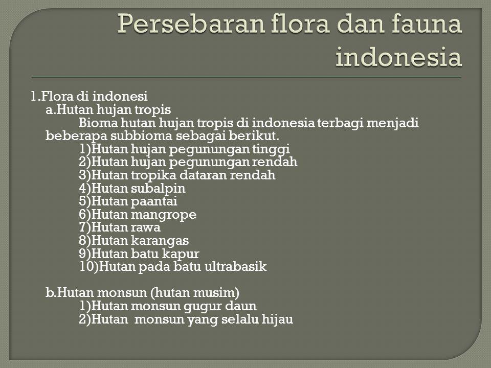1.Flora di indonesi a.Hutan hujan tropis Bioma hutan hujan tropis di indonesia terbagi menjadi beberapa subbioma sebagai berikut. 1)Hutan hujan pegunu