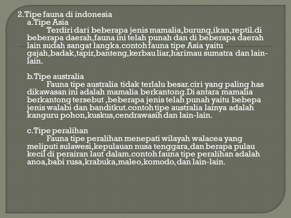 2.Tipe fauna di indonesia a.Tipe Asia Terdiri dari beberapa jenis mamalia,burung,ikan,reptil.di beberapa daerah,fauna ini telah punah dan di beberapa