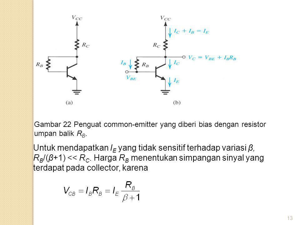 13 Gambar 22 Penguat common-emitter yang diberi bias dengan resistor umpan balik R B. Untuk mendapatkan I E yang tidak sensitif terhadap variasi β, R