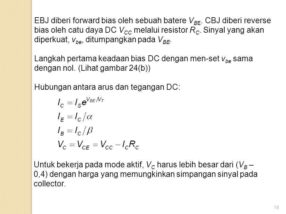18 EBJ diberi forward bias oleh sebuah batere V BE. CBJ diberi reverse bias oleh catu daya DC V CC melalui resistor R C. Sinyal yang akan diperkuat, v