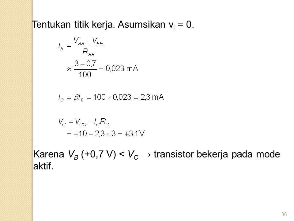 36 Tentukan titik kerja. Asumsikan v i = 0. Karena V B (+0,7 V) < V C → transistor bekerja pada mode aktif.