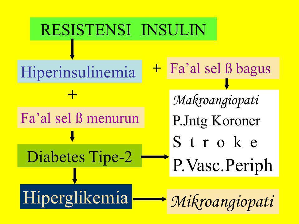 RESISTENSI INSULIN Fa'al sel ß menurun Diabetes Tipe-2 Hiperinsulinemia + Fa'al sel ß bagus + Makroangiopati P.Jntg Koroner S t r o k e P.Vasc.Periph