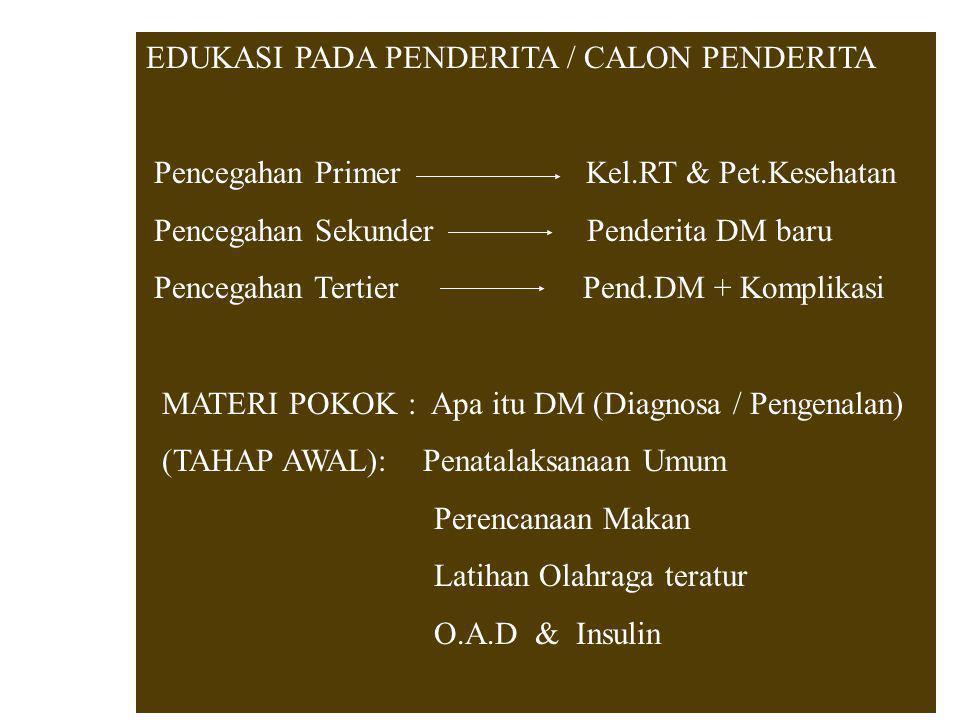 EDUKASI PADA PENDERITA / CALON PENDERITA Pencegahan Primer Kel.RT & Pet.Kesehatan Pencegahan Sekunder Penderita DM baru Pencegahan Tertier Pend.DM + K