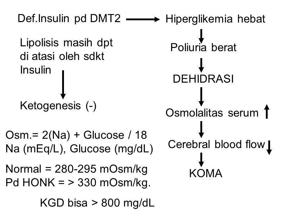 Def.Insulin pd DMT2 Hiperglikemia hebat Poliuria berat DEHIDRASI Lipolisis masih dpt di atasi oleh sdkt Insulin Ketogenesis (-) Osmolalitas serum Cere