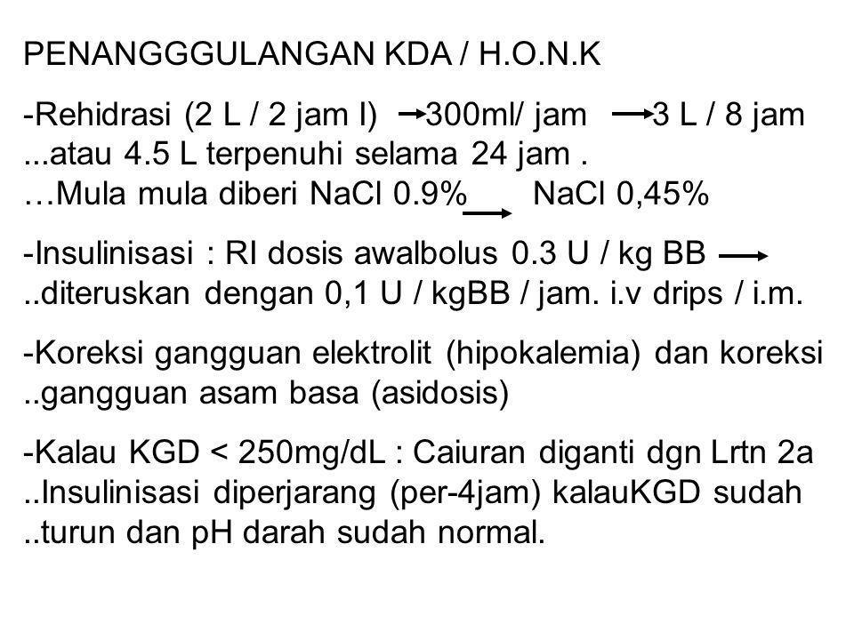 PENANGGGULANGAN KDA / H.O.N.K -Rehidrasi (2 L / 2 jam I) 300ml/ jam 3 L / 8 jam...atau 4.5 L terpenuhi selama 24 jam. …Mula mula diberi NaCl 0.9% NaCl