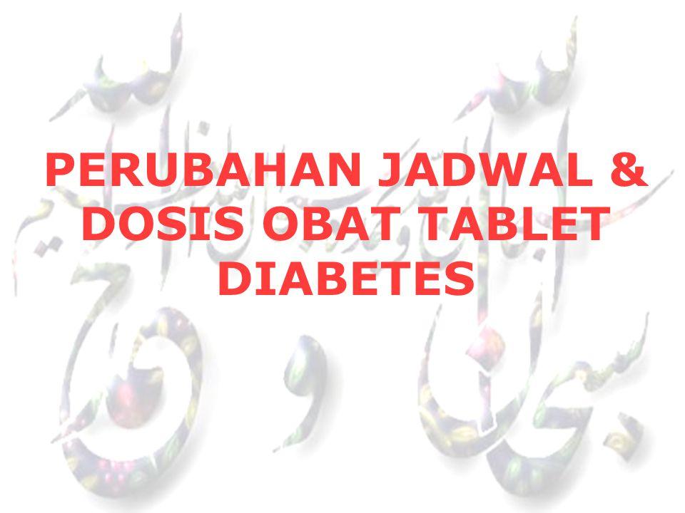 PERUBAHAN JADWAL & DOSIS OBAT TABLET DIABETES