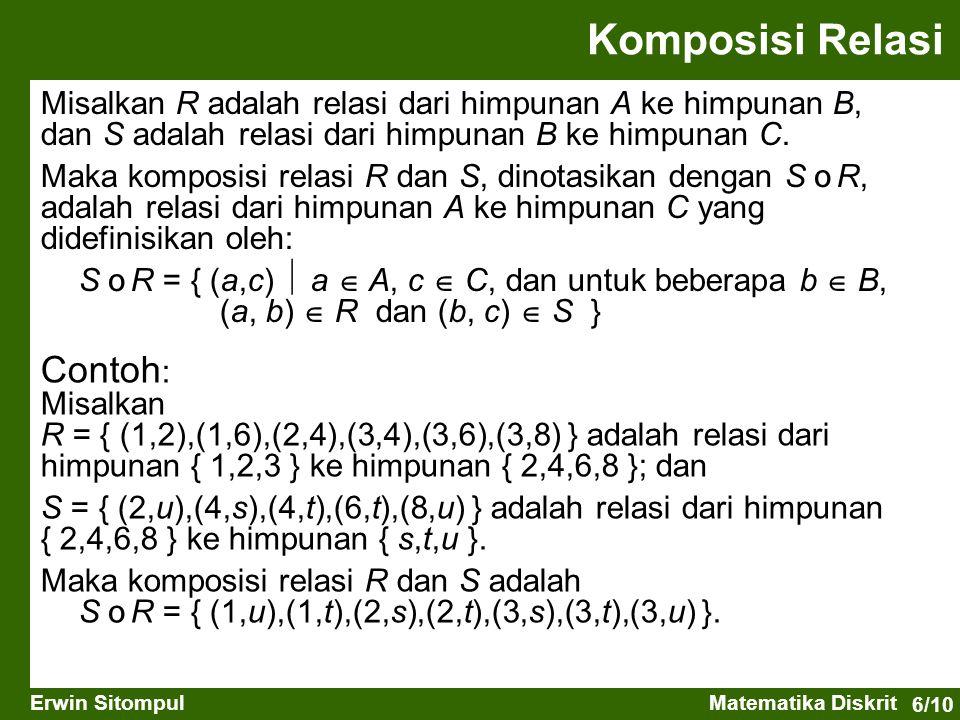 6/10 Erwin SitompulMatematika Diskrit Komposisi Relasi Misalkan R adalah relasi dari himpunan A ke himpunan B, dan S adalah relasi dari himpunan B ke