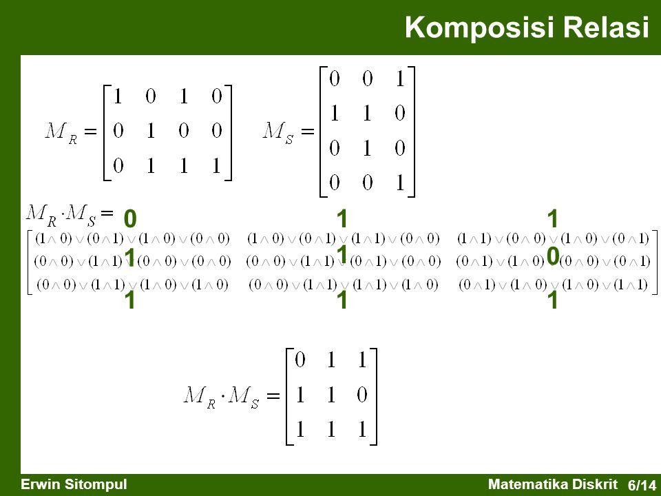 6/14 Erwin SitompulMatematika Diskrit Komposisi Relasi 011 1 1 0 111
