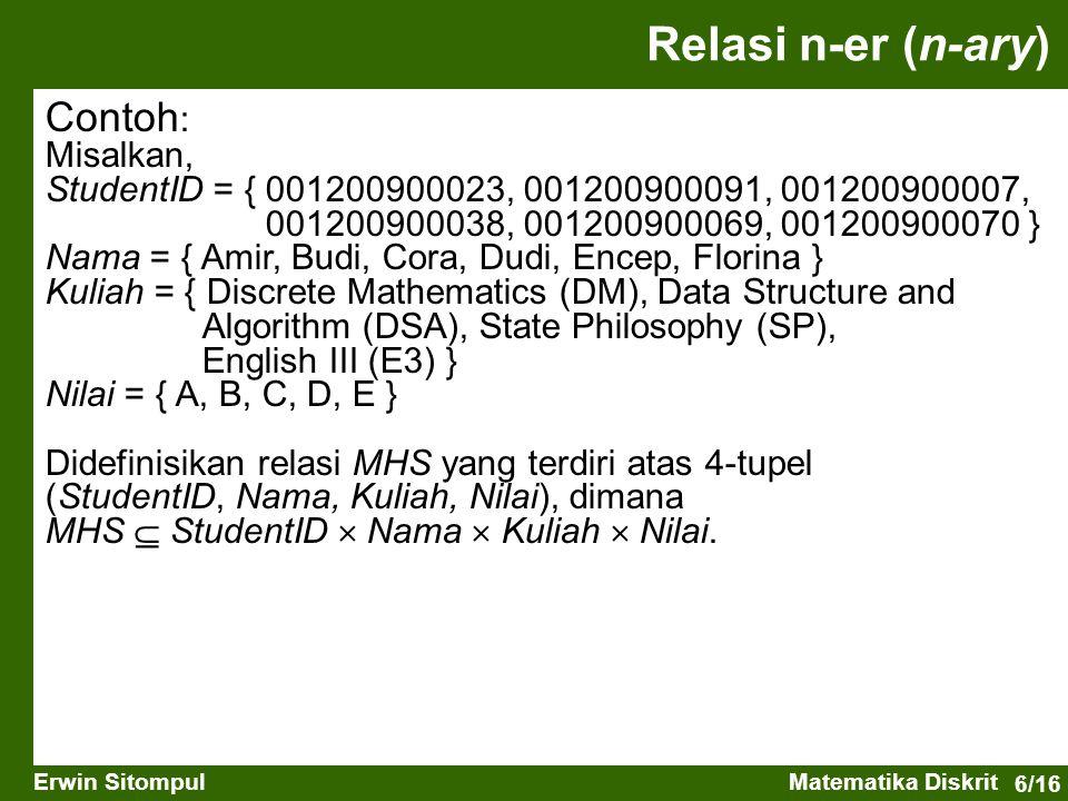 6/16 Erwin SitompulMatematika Diskrit Contoh : Misalkan, StudentID = { 001200900023, 001200900091, 001200900007, 001200900038, 001200900069, 001200900070 } Nama = { Amir, Budi, Cora, Dudi, Encep, Florina } Kuliah = { Discrete Mathematics (DM), Data Structure and Algorithm (DSA), State Philosophy (SP), English III (E3) } Nilai = { A, B, C, D, E } Didefinisikan relasi MHS yang terdiri atas 4-tupel (StudentID, Nama, Kuliah, Nilai), dimana MHS  StudentID  Nama  Kuliah  Nilai.