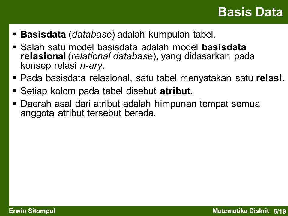 6/19 Erwin SitompulMatematika Diskrit  Basisdata (database) adalah kumpulan tabel.