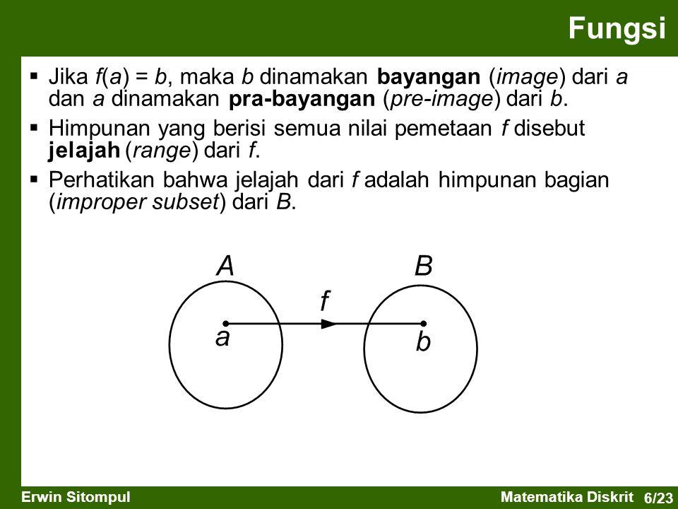 6/23 Erwin SitompulMatematika Diskrit  Jika f(a) = b, maka b dinamakan bayangan (image) dari a dan a dinamakan pra-bayangan (pre-image) dari b.  Him
