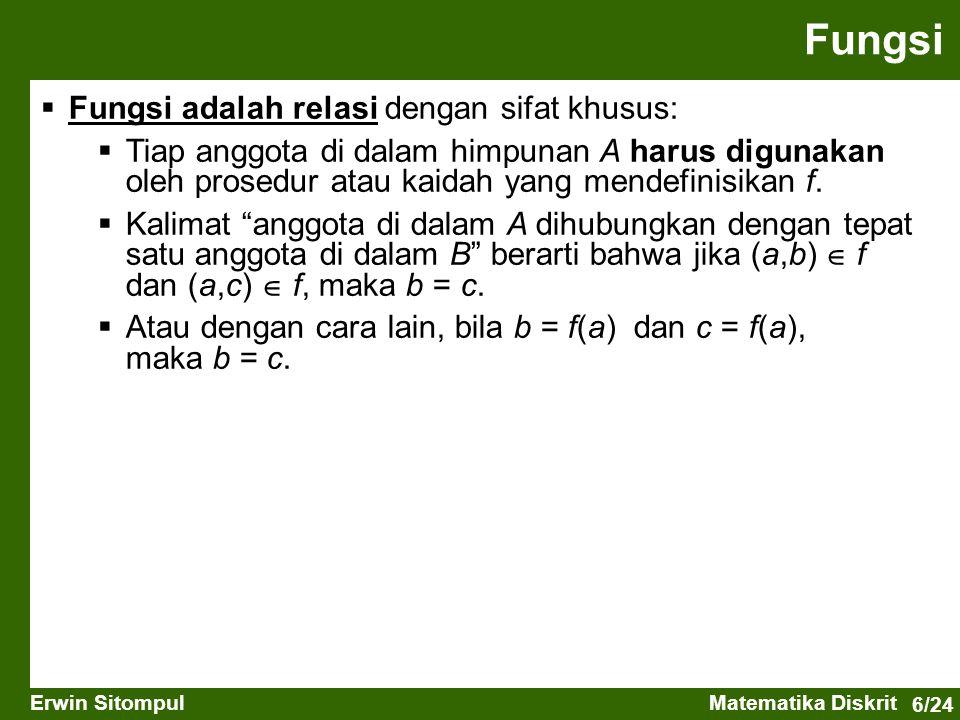 6/24 Erwin SitompulMatematika Diskrit  Fungsi adalah relasi dengan sifat khusus:  Tiap anggota di dalam himpunan A harus digunakan oleh prosedur atau kaidah yang mendefinisikan f.