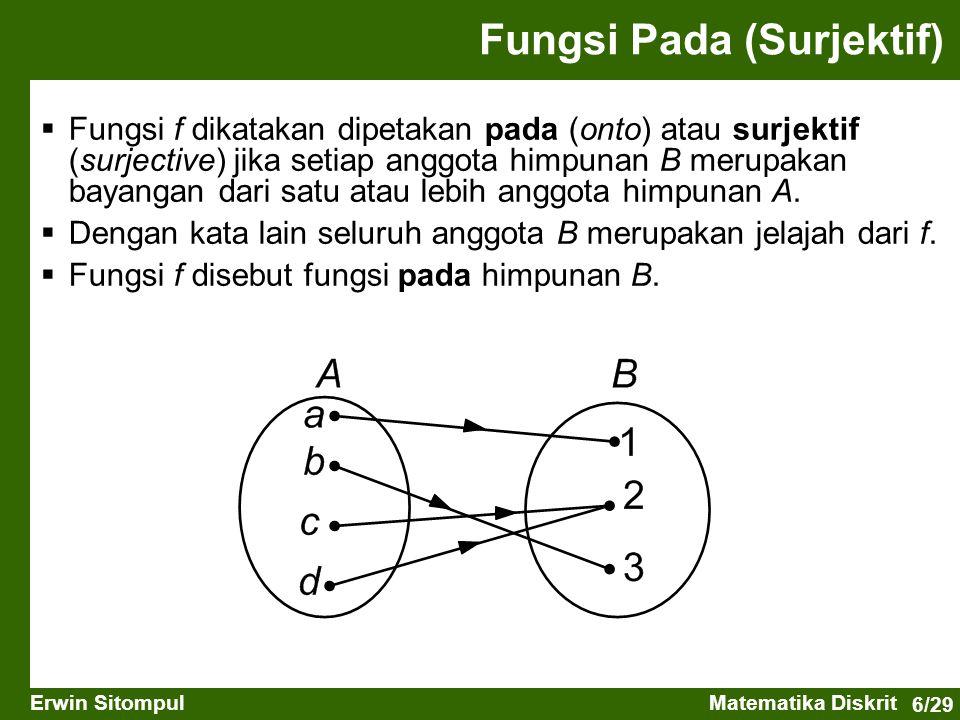 6/29 Erwin SitompulMatematika Diskrit Fungsi Pada (Surjektif)  Fungsi f dikatakan dipetakan pada (onto) atau surjektif (surjective) jika setiap anggota himpunan B merupakan bayangan dari satu atau lebih anggota himpunan A.