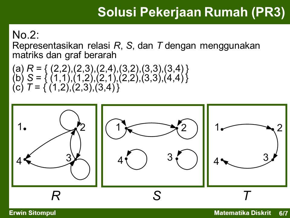 6/7 Erwin SitompulMatematika Diskrit Solusi Pekerjaan Rumah (PR3) No.2: Representasikan relasi R, S, dan T dengan menggunakan matriks dan graf berarah