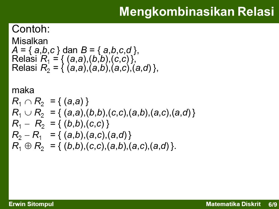 6/9 Erwin SitompulMatematika Diskrit Mengkombinasikan Relasi Contoh: Misalkan A = { a,b,c } dan B = { a,b,c,d }, Relasi R 1 = { (a,a),(b,b),(c,c) }, Relasi R 2 = { (a,a),(a,b),(a,c),(a,d) }, maka R 1  R 2 = { (a,a) } R 1  R 2 = { (a,a),(b,b),(c,c),(a,b),(a,c),(a,d) } R 1  R 2 = { (b,b),(c,c) } R 2  R 1 = { (a,b),(a,c),(a,d) } R 1  R 2 = { (b,b),(c,c),(a,b),(a,c),(a,d) }.