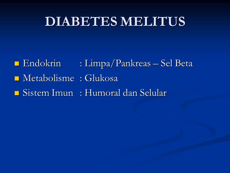 DIABETES MELITUS Endokrin: Limpa/Pankreas – Sel Beta Endokrin: Limpa/Pankreas – Sel Beta Metabolisme: Glukosa Metabolisme: Glukosa Sistem Imun: Humoral dan Selular Sistem Imun: Humoral dan Selular