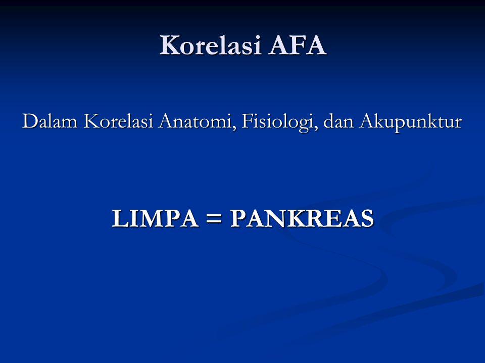 Korelasi AFA Dalam Korelasi Anatomi, Fisiologi, dan Akupunktur LIMPA = PANKREAS
