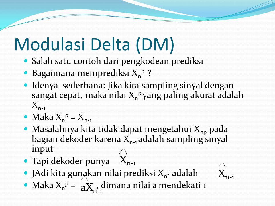 Modulasi Delta (DM) Salah satu contoh dari pengkodean prediksi Bagaimana memprediksi X n p ? Idenya sederhana: Jika kita sampling sinyal dengan sangat