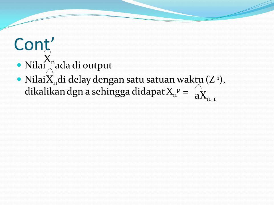 Cont' Nilai ada di output Nilai di delay dengan satu satuan waktu (Z -1 ), dikalikan dgn a sehingga didapat X n p = XnXn XnXn aX n-1