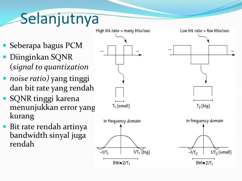 Selanjutnya Tetapi pernyataan diatas merupakan 2 hal yang bertentangan Maka yang diinginkan adalah: Jika SQNR tetap maka kita membuat Bit rate yang rendah Jika bit rate tetap maka kita membuat SQNR yang tinggi
