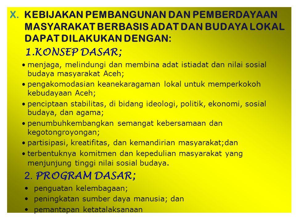 IX. DUKUNGAN DPRA A.Dukungan operasional penyelenggaraan Pembangunan dan Pemberdayaan Masyarakat Berbasis Adat dan Budaya Lokal 1. Memberi dukungan an