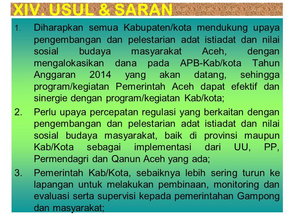 1.Meminta SKPA yang terkait dgn Pemberdayaan Adat, agar memfasilitasi Kabupaten/Kota untuk mempercepat pembentukan Pokja Pengembangan dan Pelestarian