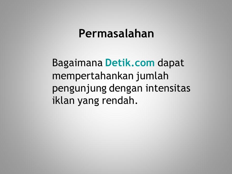 Permasalahan Bagaimana Detik.com dapat mempertahankan jumlah pengunjung dengan intensitas iklan yang rendah.