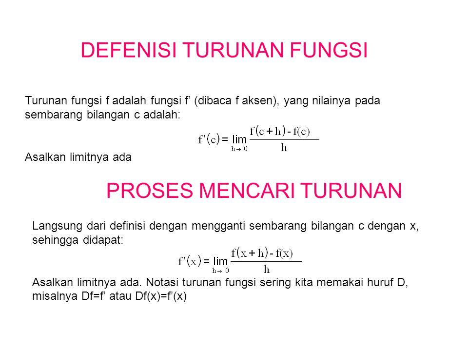 DEFENISI TURUNAN FUNGSI Turunan fungsi f adalah fungsi f' (dibaca f aksen), yang nilainya pada sembarang bilangan c adalah: Asalkan limitnya ada PROSE