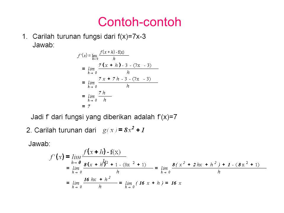 Contoh-contoh 1.Carilah turunan fungsi dari f(x)=7x-3 Jawab: Jadi f' dari fungsi yang diberikan adalah f'(x)=7 2. Carilah turunan dari Jawab: