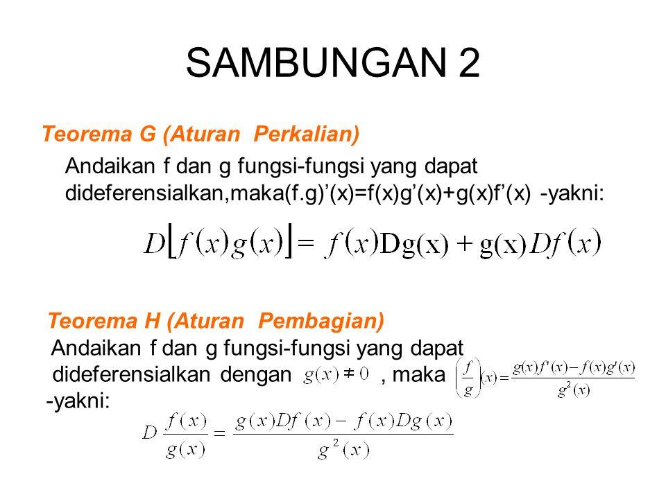 SAMBUNGAN 2 Teorema G (Aturan Perkalian) Andaikan f dan g fungsi-fungsi yang dapat dideferensialkan,maka(f.g)'(x)=f(x)g'(x)+g(x)f'(x) -yakni: Teorema