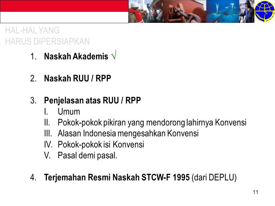 11 1.Naskah Akademis √ 2. Naskah RUU / RPP 3.