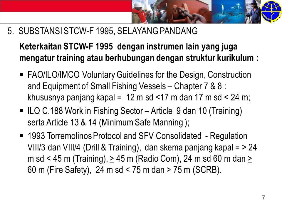 7 5. SUBSTANSI STCW-F 1995, SELAYANG PANDANG Keterkaitan STCW-F 1995 dengan instrumen lain yang juga mengatur training atau berhubungan dengan struktu