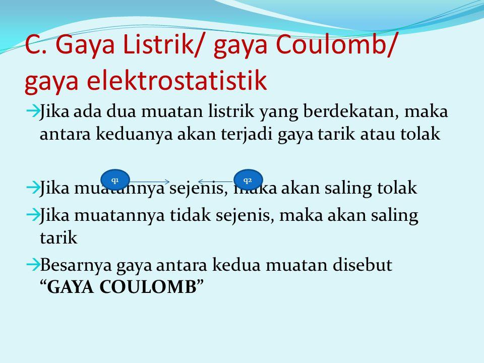 C. Gaya Listrik/ gaya Coulomb/ gaya elektrostatistik  Jika ada dua muatan listrik yang berdekatan, maka antara keduanya akan terjadi gaya tarik atau