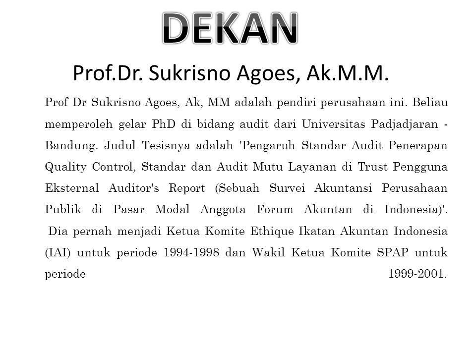 Prof.Dr.Sukrisno Agoes, Ak.M.M. Prof Dr Sukrisno Agoes, Ak, MM adalah pendiri perusahaan ini.