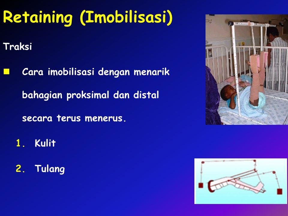 Retaining (Imobilisasi) Traksi Cara imobilisasi dengan menarik bahagian proksimal dan distal secara terus menerus. 1.Kulit 2.Tulang
