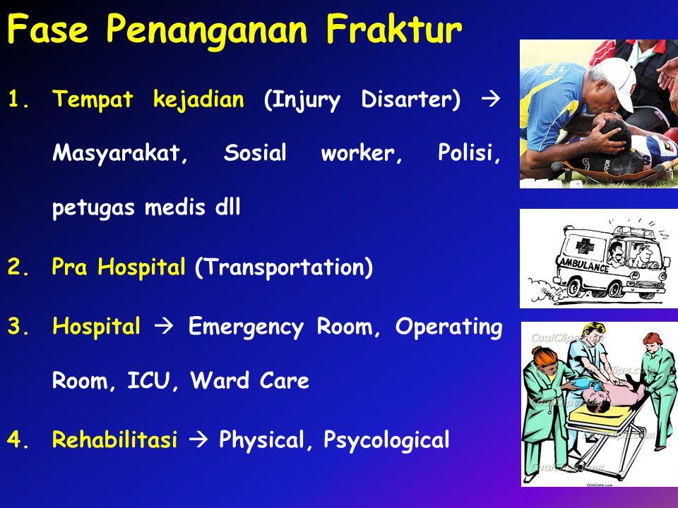 Fase Penanganan Fraktur 1.Tempat kejadian (Injury Disarter)  Masyarakat, Sosial worker, Polisi, petugas medis dll 2.Pra Hospital (Transportation) 3.H