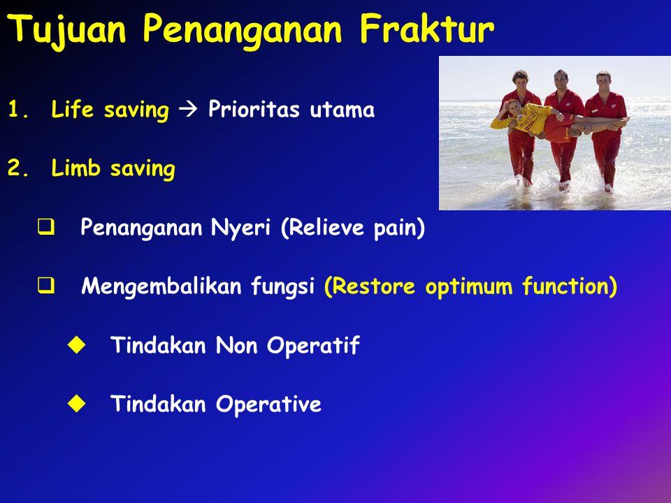Tujuan Penanganan Fraktur 1.Life saving  Prioritas utama 2.Limb saving  Penanganan Nyeri (Relieve pain)  Mengembalikan fungsi (Restore optimum func